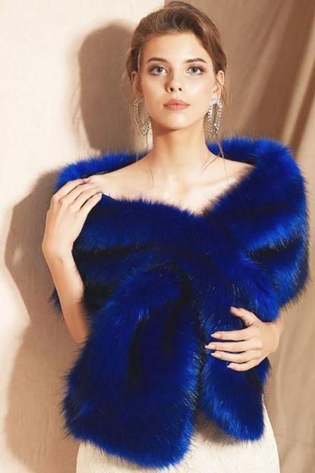 Royal Blue Stole for Women Warm Evening Party Shawls for Women Thermal Clothes Faux Fur Wrap-Wedding Bridal Cloak Bridesmaids Stole