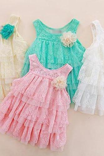 Baby Girls Tees for Spring-Sleeveless Dress for Infant Girls-Lacy Dress for Baby Girls