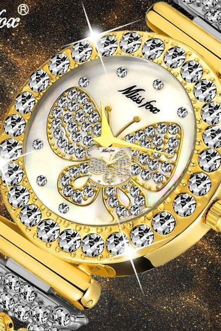 Butterfly Full Crystal Watches for Women-18K Gold Watch Waterproof Special Bracelets