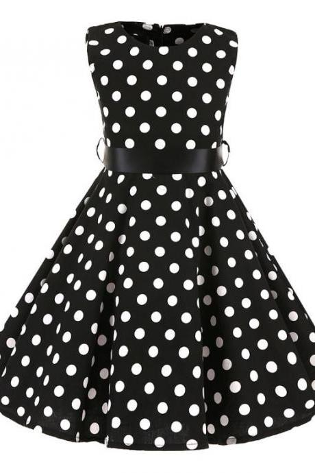 Black Polka Dot Dress for Tween Girls -Sleeveless Summer Dress-Black Dress for Ages 3T-14Years Old
