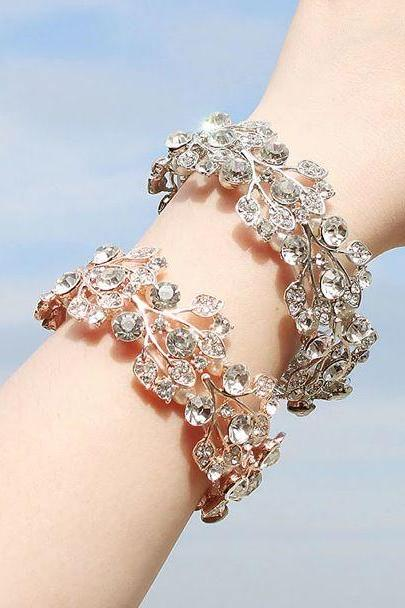 Bridal Bracelets Crystal Stones-Wide Bangles for Brides-Wedding Bracelets