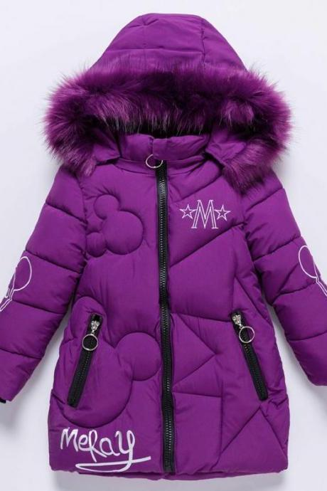 Little Meray Girl Purple Jackets for Winter Season Outerwear for Tween Girls Purple Coats-Hooded Purple Trench Coats