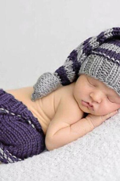 Purple Baby Props-Knitted Soft Hat Pants Set Newborn Baby Props Unisex Striped Hats