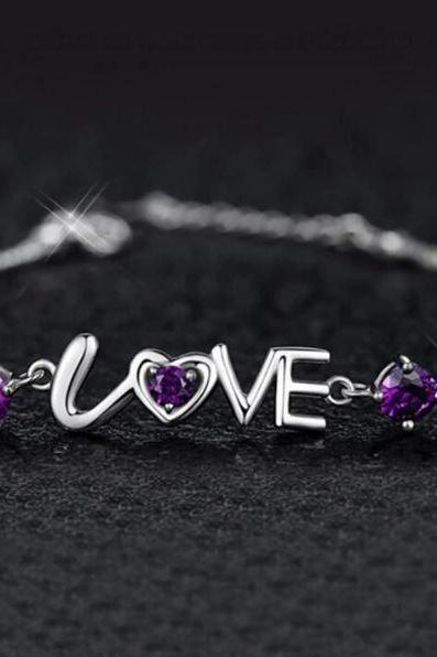 Purple Bracelets for Women 925 Sterling Silver LOVE Purple Motif LOVE Purple Collection-Crystal Love Heart Bracelets 925 Sterling