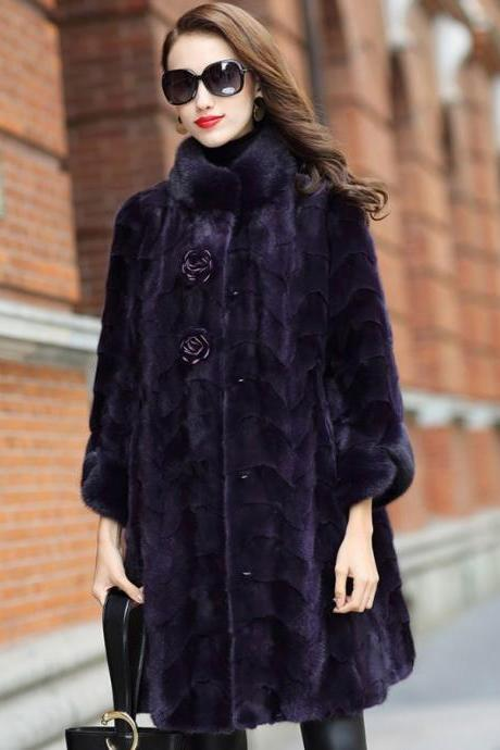 Natural Genuine Mink Fur Coat-RSS Boutique SALE Genuine Mink Fur Luxury Overcoats for Elegant Lady Winter Purple Coats