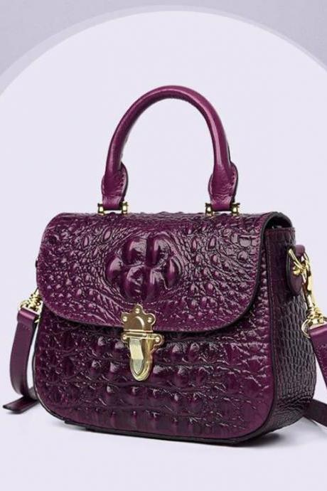Purple Leather Bags for Women-Famous Brand Crocodile Pattern Luxury Women Bags and Purses