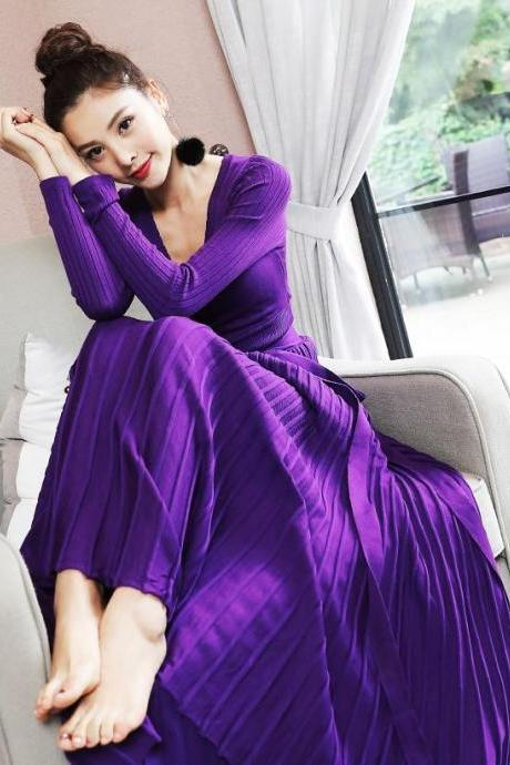 Purple Knitted Dress One Size Purple Maxi Dress for Women Free Shipping Purple Stretchable Long Dresses