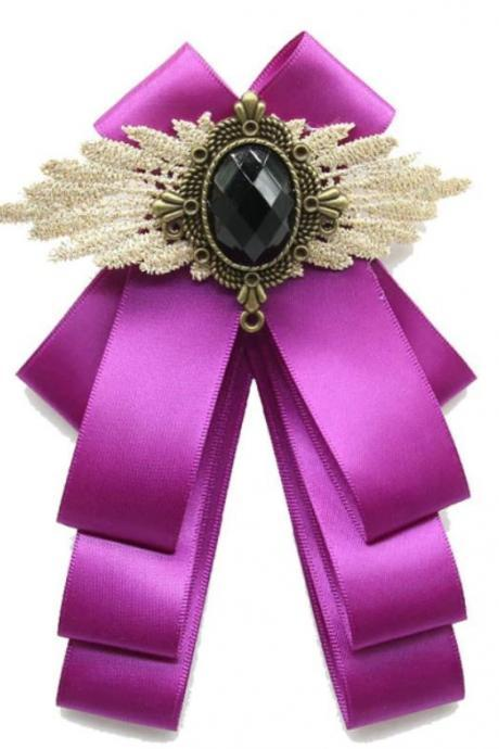 New Bow Brooches for Women Purple Neck Tie Shirt Bows Purple Brooch Vintage Purple Ribbon Ties