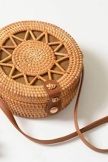 classic star rattan bags for women handmade shoulder bags