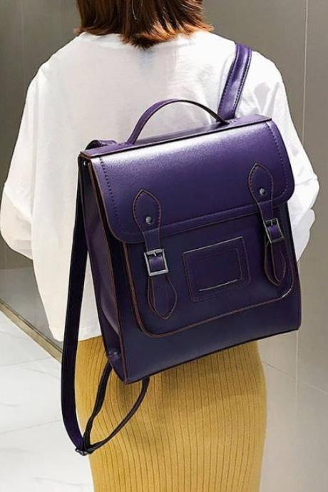 Big Leather Backpacks for Women-Purple Backpacks for Students-Large Capacity Portable Tote Shoulder Bags Mochila Mujer-College Backpacks