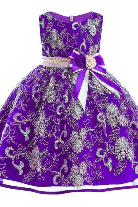 High Quality Purple Lace Golden Embroidery Big Bow Tutu Princess Dress for Girls-Purple Gowns for Flower Girls-Birthday Girls Tutu Dress