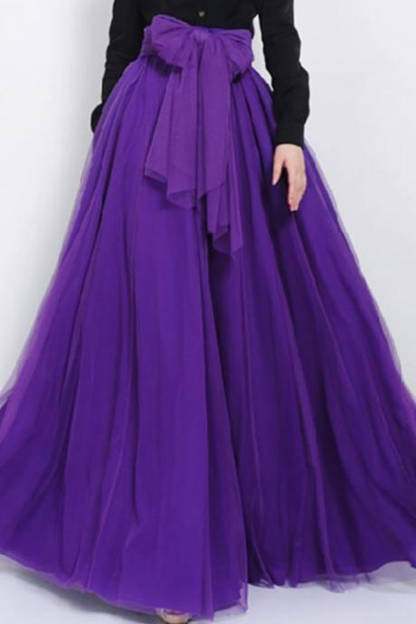 Purple Evening Skirts Long Purple Maxi Skirts for Women with Purple Sash Belt-Same Color as in Picture Eggplant color