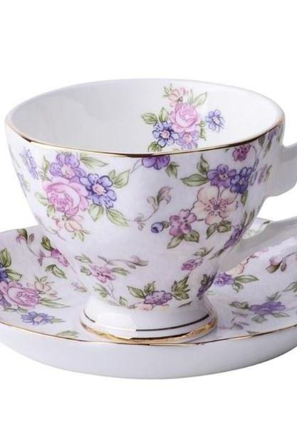 3pcs/SET Purple Set Home and Decor-Purple Tea Cups-Floral Cups for Women-Fine Bone China Coffee Cup, Saucer and Spoon-Technique On-glazed Ceramic