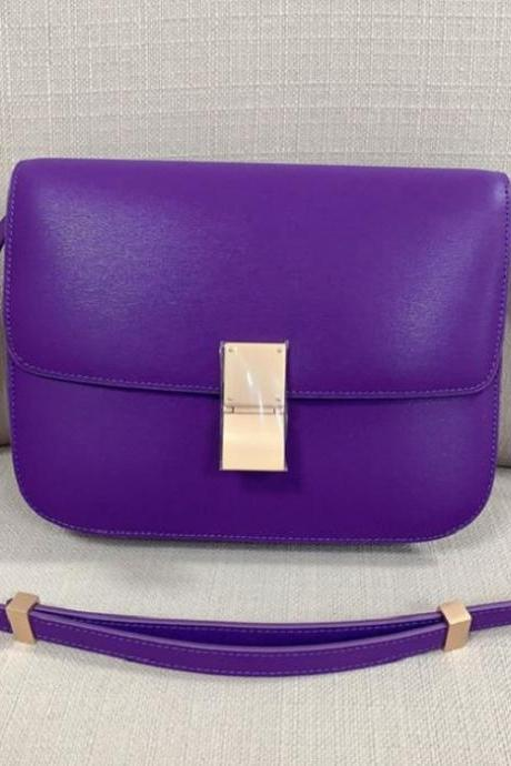 True Leather Bags for Women Solid Purple RCP3097W-Purple Leather Handbags-Purple Clutches-Purple Messenger Bags-FREE DESIGNER BROOCH