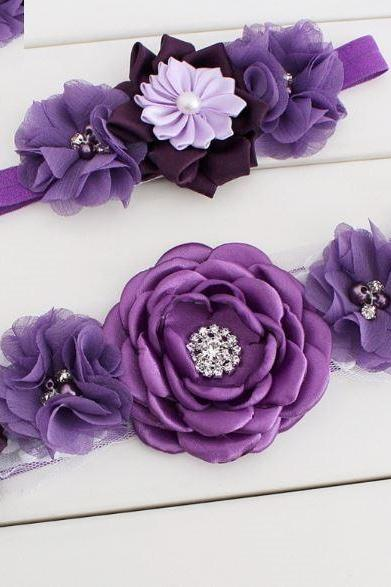 2pcs/SET Purple Wedding Belt Sash and Purple Headband for Baby Girls-Purple Maternity Sash-Baby Shower Sash Gifts