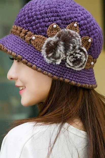 Purple Hats for Women-Crochet Handmade Cloche Knitted Flowers Decorated Ear Hats