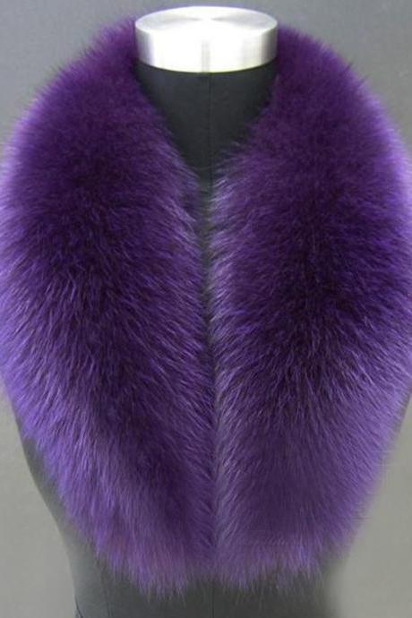 Purple Scarf for Women-Winter Accessories for Women-Detachable Fur Collars for Women-Women New Faux Fox Fur Collar Multicolor Shawl Collar