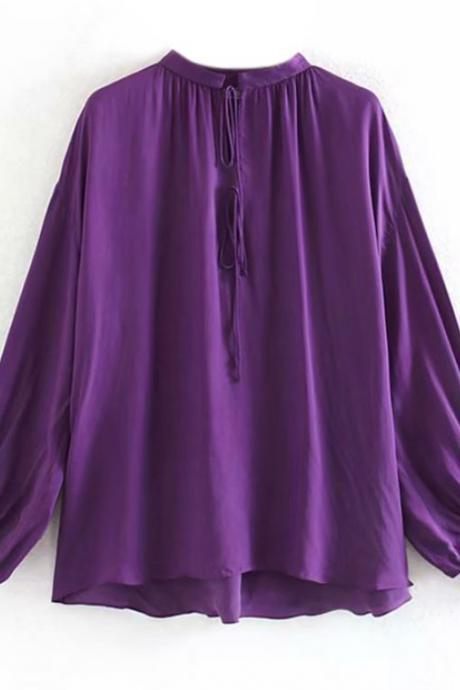Purple Silk Blouses for Women-Purple Lady Solid Blouse Shirt Autumn Spring O Neck Lace Up Loose Shirts