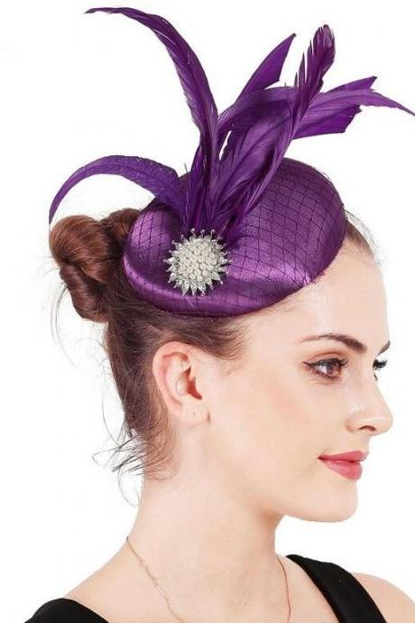 Satin Purple Fascinator Hats for Mother of The Bride Mesh Feather Millinery Hats Elegant Pillbox