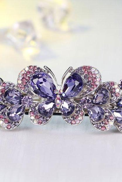 Purple Barrettes for Women-Headwear Barrette Hairpin Accessories Jewelries for Woman-Butterfly Hairpins-Butterfly Barrettes