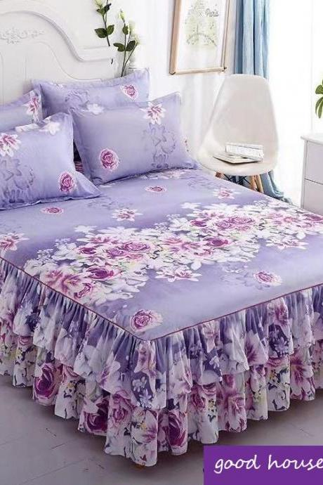 Girls Purple Bed Sheet Good House Keeping-Purple Ruffled Bed Sheets for King Size Bed-Ruffled Bedding Purple Bed Skirts