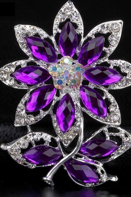 New 2020 Purple Crystal Brooch for Women-Rhinestone Party Brooches for Women Jewelry