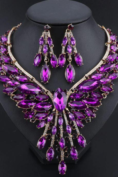 New 2020 Purple Jewelry Sets for Women-Crystal Bridal Jewelry Sets Wedding Party Costume Accessory