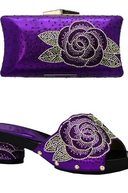 Purple Bag and Purple Clutch Twinset-Wedding, Prom Grand Occasion Accessories-New Arrival Italian Shoes with Matching Bags Set Decorated with Rhinestone