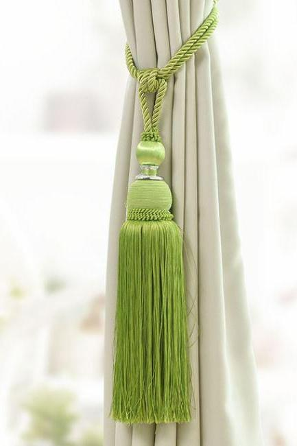 2 Pcs/SET European Style Curtain Tassel Brush Fringe-Tiebacks for Curtains Green Tassels for Curtain Accessories Green Tie Back Straps