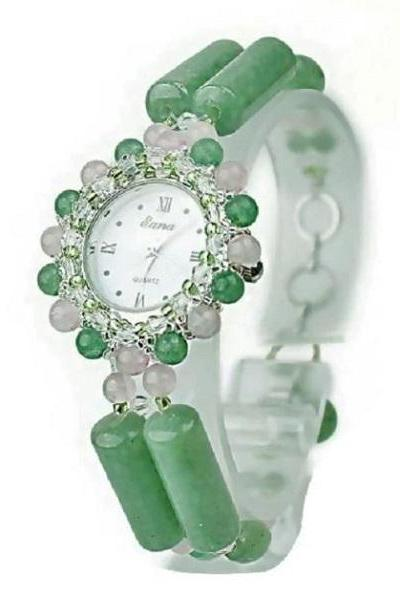 Rsslyn Luxury Green Wrist Watches for Women-New Green Retro Design Real Aventurine Stone Band Quartz Wrist Watch for Ladies