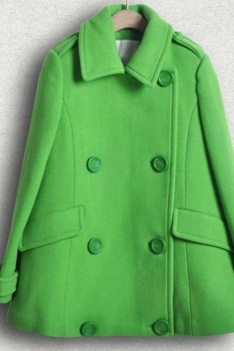 Green Blazers for Women Green Winter Coats Woolen Material-Double Breasted Green Jackets