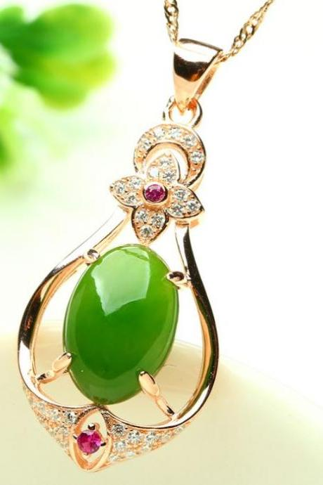 18K Rose Gold Inlaid Necklace Jade Pendant for Women Brincos Jewelry Emerald Jade Necklaces for Women