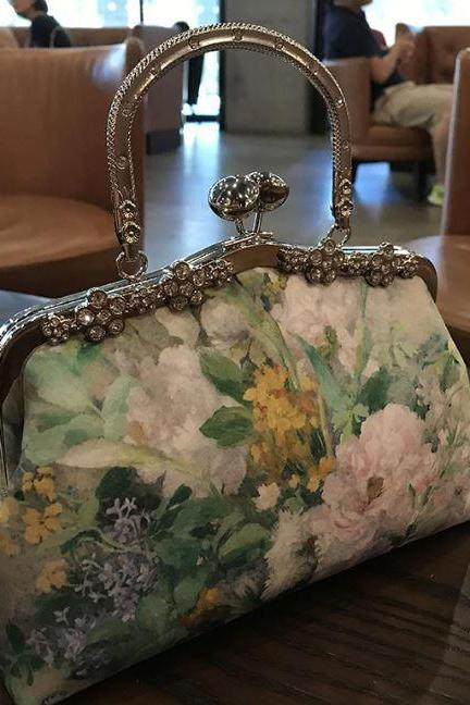 Vintage Collections- Green Purses for Women Handmade Shoulder Bags-Floral Clutch for Women-Green Prom Bags for Women-Professiona Handmade DIY