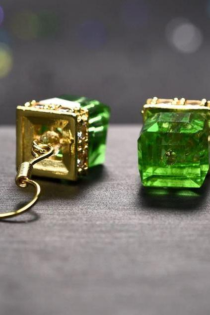 Pretty Cube Earrings with Crystal Stones-Green Earrings for Women-Dangle Earrings for Women