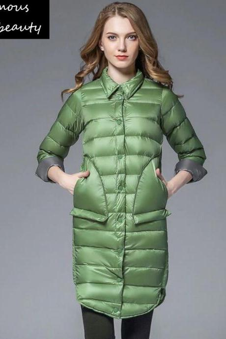 Green Parkas for Women-Green Cotton Duck Down with Triangular Pocket-FREE Fur Collar-2020 New Trendy Ski Green Parkas