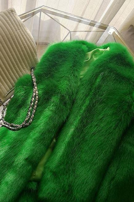Thick Green Jackets for Women-Slim Green Coats-Chic Style Faux Fox Fur Coats for Women-Women's Cropped Jackets