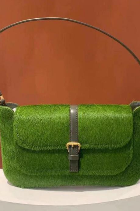 Fashion Small Purses-Green Horsehair Handbags for Women Retro Genuine Leather Bags-Green Small Shoulder Bags for Women