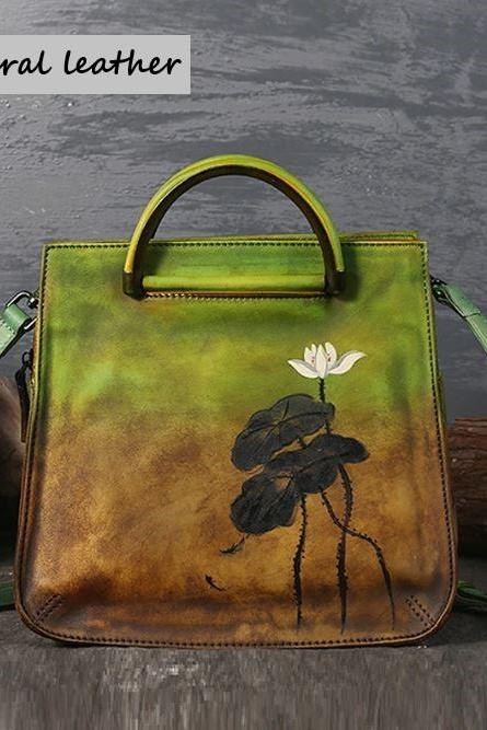 Green Vintage Tote Bags for Women-Genuine Leather Purse for Women-Floral Hand Painted Silt Pocket Versatile Embossed Flowers Green Shoulder Bags