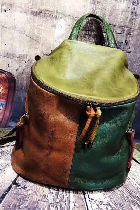 Roomy Leather Backpacks for Men and Women-Big Bucket Backpacks,Casual Traveling Bags-Real Vintage Bags Large Roomy Bags for Women