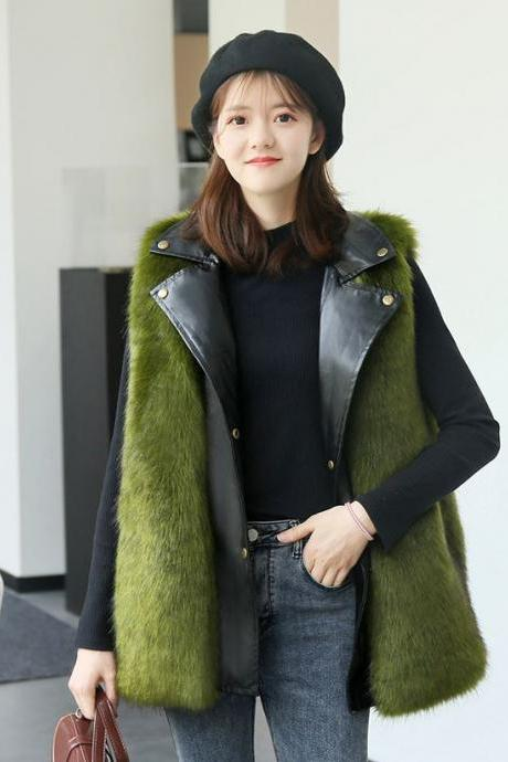 2020 Fashion Leather Vests for Women-Green Vest with Leather and Buckles-Faux Fur Patchwork Women's Vest Coats for Winter