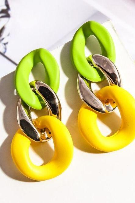 New Big Chained Yellow Acrylic Earrings New RSS Boutique Yellow Earrings for Women-Geometric Jewelry Accessories