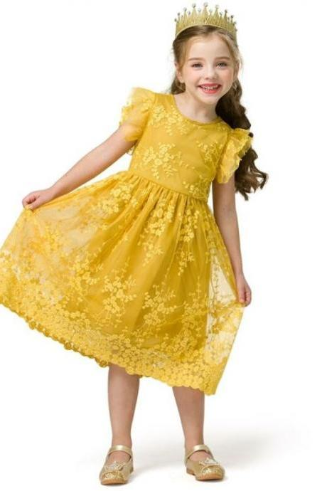 Lovely Yellow Dress for Toddler Girls Lacy Summer Dress-Ruffled Sleeves and Hem Free Headband