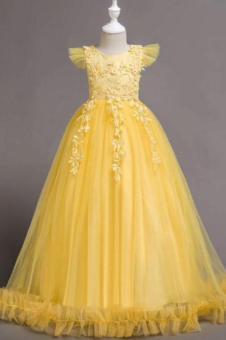 Sleeveless Yellow Princess Dress for Junior Girls Flare Embroidery Patchwork Dress Free Shipping Girls Dress