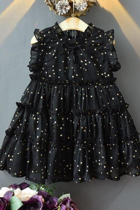 Black as Night Dress for Little Girls with Stars and Ruffled Sleeves and Hem FREE Golden Bow Headband