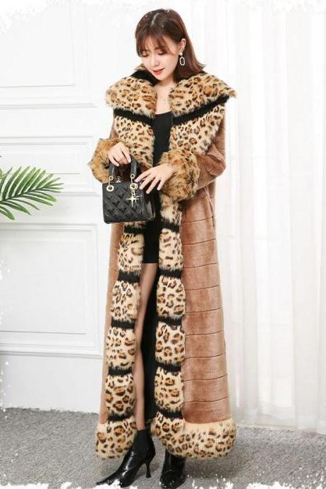 Born to Be Leopard Woman S-7XL Extra Long Winter Faux Fur Overcoat for Women with Leopard Fox Fur Trim-Luxury Clothing for Luxury Women