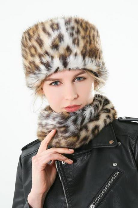 Leopard Collection Winter Accessories for Women-Winter Faux Fur Leopard Scarf And Hats Set Women Scarves Neck Warmer