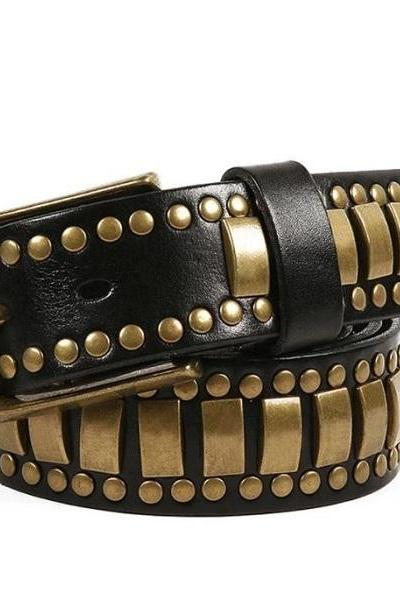 Rsslyn Black Masculine Belts Rivet Studded Black Belts for Men and Teenage Boys