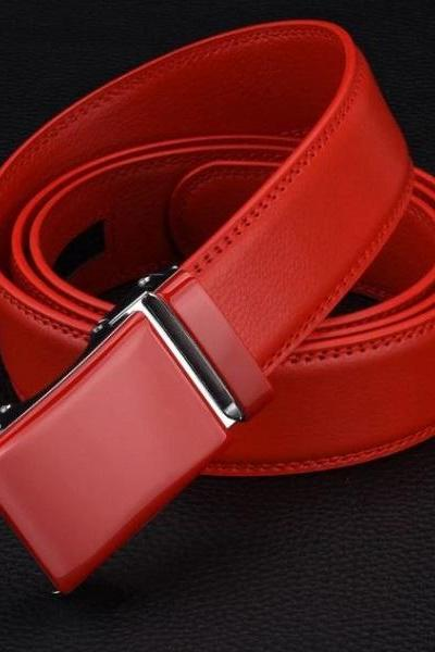 Rsslyn Fashion Belt for Men Unisex Red Belt for Women High Quality Automatic Buckle Belts