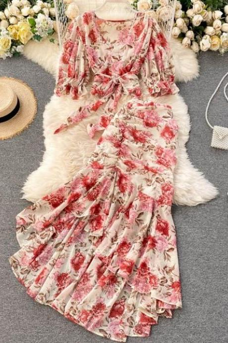 Rssyn 2pcs/ SET Mermaid Red Maxi Dress Women Chic Print Midi Dress V neck Fashion Dresses for Women Vintage Floral Prints