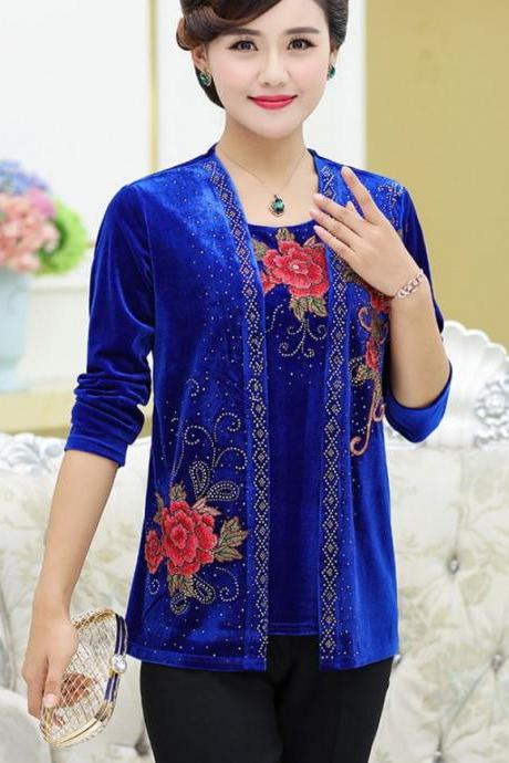 2pcs/ SET Clothing Set Velvet Blouse for Women Fashion Style for Women Royal Blue Blouse Royal Blue Tops for Women with Matching Blue Cardigan
